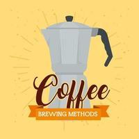 méthode de préparation du café, pot de moka vecteur
