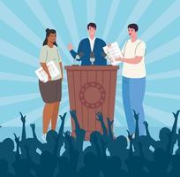 bannière de célébration du jour de l'élection avec discours du candidat vecteur