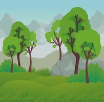 paysage avec des arbres et des rochers en face de la conception de vecteur de montagnes