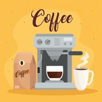 méthodes de préparation du café, emballage avec cafetière et tasse en céramique vecteur