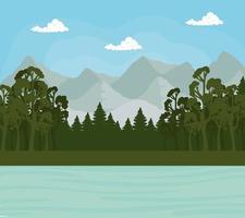 paysage avec pins et mer en face de la conception de vecteur de montagnes