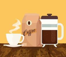 méthodes de préparation du café, tasse avec sac et théière vecteur