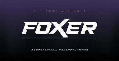 police de l'alphabet italique moderne de sport. typographie polices de style urbain pour la technologie, numérique, création de logo de film. illustration vectorielle