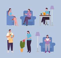 personnes faisant des activités à la maison icon set vector design