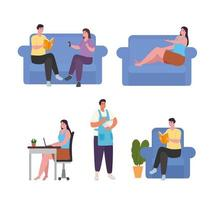 personnes faisant des activités à la maison icône collection vector design
