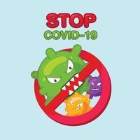 arrêter le personnage de coronavirus dans un style plat. panneau d'interdiction rouge. pas d'infection et arrêter les concepts de coronavirus. virus corona mondial et concept d'épidémie et d'attaque pandémique de covid-19 vecteur