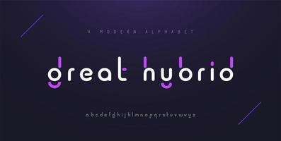 polices de l'alphabet moderne minimaliste abstrait. typographie minimaliste mode numérique urbaine future police de logo créatif. illustration vectorielle vecteur