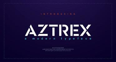 polices de l'alphabet urbain moderne abstrait. typographie sport, simple, technologie, mode, numérique, future police de logo créatif. illustration vectorielle vecteur