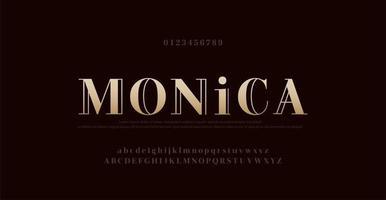 numéro et police de lettres de l'alphabet élégant. typographie lettrage classique dessins de polices de mode minimalistes illustration vectorielle vecteur