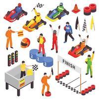 ensemble de sport de karting isométrique vecteur