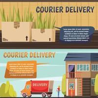 bannières orthogonales de livraison par courrier vecteur