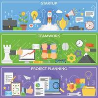 bannières de concept de développement de projet de démarrage vecteur