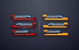 Interface de vecteur de conception futuriste barres de la troisième bannière inférieure. vidéo en streaming. dernières nouvelles sportives.