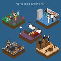 composition de personnes isométrique uniforme de professions vecteur