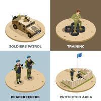 soldats de l'armée véhicules militaires isométrique 2x2 vecteur