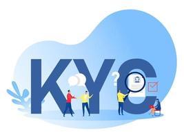 kyc ou connaissez votre client avec une entreprise vérifiant l'identité de ses clients grâce à un illustrateur de vecteur de loupe