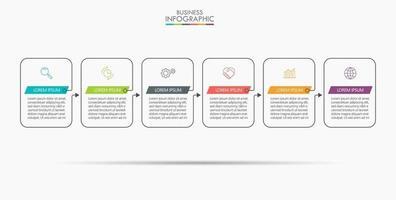 modèle de conception infographique fine ligne avec 6 options vecteur