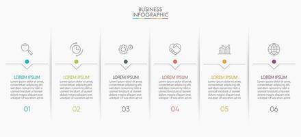 icônes d & # 39; infographie avec 6 étapes vecteur