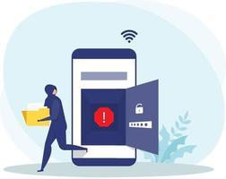 un pirate informatique ou un voleur criminel en noir vole des données ou une identité personnelle sur un concept mobile, vecteur