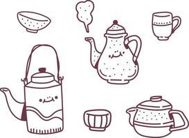 tasse de thé de style doodle vector set simple