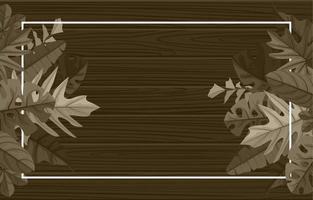 modèle de fond de texture en bois rectangulaire avec bordure de feuilles tropicales vecteur