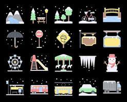 ensemble d'icônes vectorielles plat ville hiver vecteur