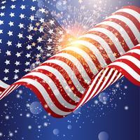 Drapeau américain avec feu d'artifice vecteur