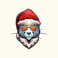illustration vectorielle de chat noël tête