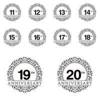 année anniversaire définie illustration de conception de modèle de vecteur