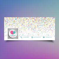 Conception de couverture de scénario de médias sociaux avec des confettis colorés vecteur
