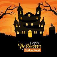 bannière d & # 39; halloween heureux avec maison hantée