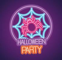enseigne au néon de fête halloween avec araignée et web
