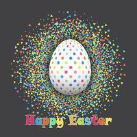 Oeuf de Pâques tacheté sur fond de confettis vecteur