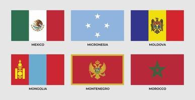Drapeau du Mexique, Micronésie, Moldavie, Mongolie, Monténégro, Maroc vecteur