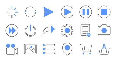 jeu d'icônes d'interface utilisateur essentiel ligne colorée.