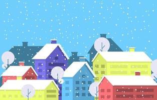 scène de ville d'hiver enneigée confortable avec arbres et maison vecteur