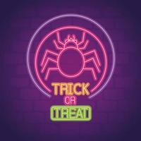 enseigne au néon fête halloween avec araignée