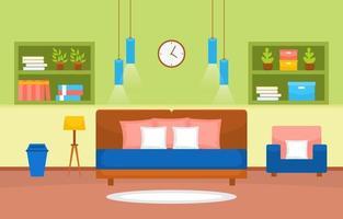 intérieur de chambre confortable avec lit double et étagères vecteur
