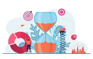 hommes d & # 39; affaires travaillant sur la gestion du temps et l & # 39; illustration de la stratégie commerciale vecteur