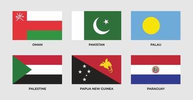 ensemble, drapeau, de, oman, pakistan, palau, palestine, papouasie nouvelle guinée, paraguay vecteur