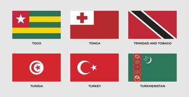 Définir le drapeau du togo, tonga, trinité-et-tobago, tunisie, turkmène, turkménistan vecteur