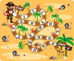 thème de pirate de jeu de plateau de chemin vecteur