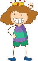 personnage de dessin animé mignon fille dans un style doodle dessiné à la main