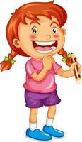 personnage de dessin animé fille heureuse tenant un crayon
