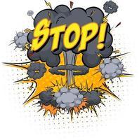 Arrêter le texte sur l'explosion de nuage comique isolé sur fond blanc