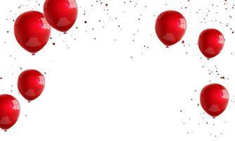ballons blancs rouges, modèle de conception de concept de confettis vacances happy valentines day, illustration vectorielle de fond célébration.