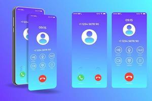 modèle d'interface smartphone écran d'appel, mise en page de conception d'application mobile, interface utilisateur pour illustration vectorielle d'application