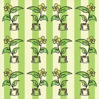 motif de fleurs avec fond de rayures vertes vecteur