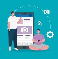 médias sociaux, hommes avec smartphone et icônes