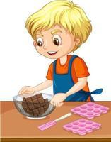 personnage de dessin animé d'un garçon avec des équipements de cuisson